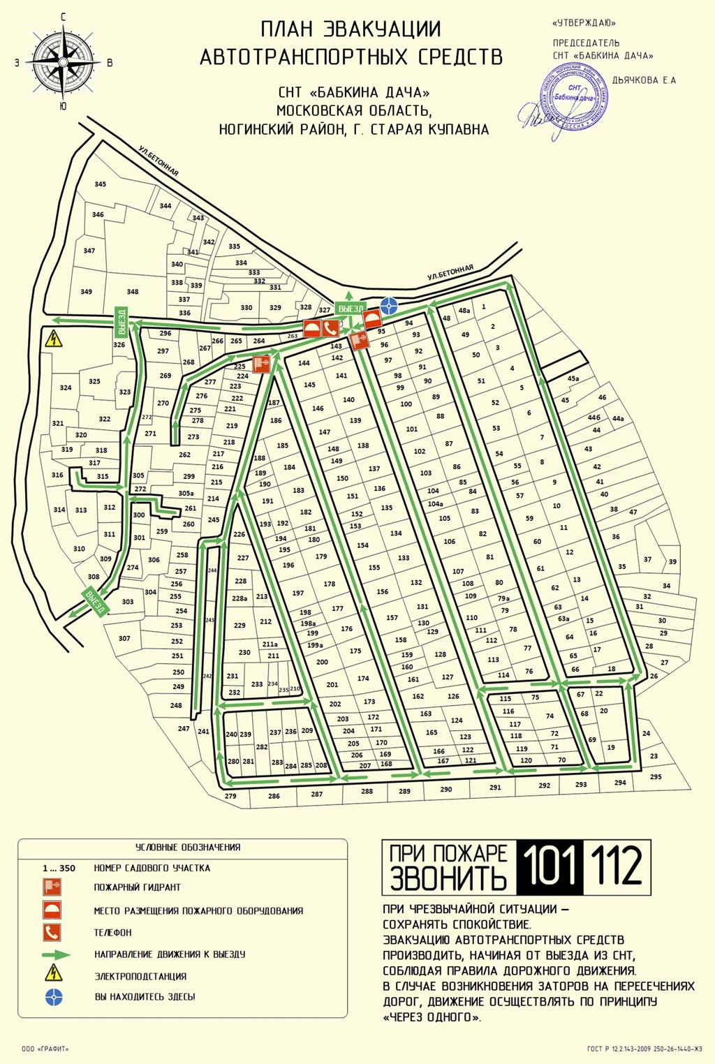 План эвакуации автотранспортных средств
