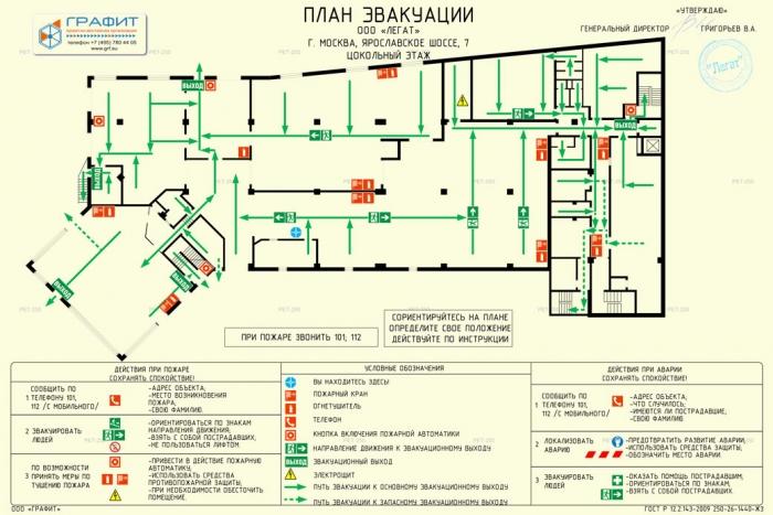План эвакуации ООО Легат цокольный этаж