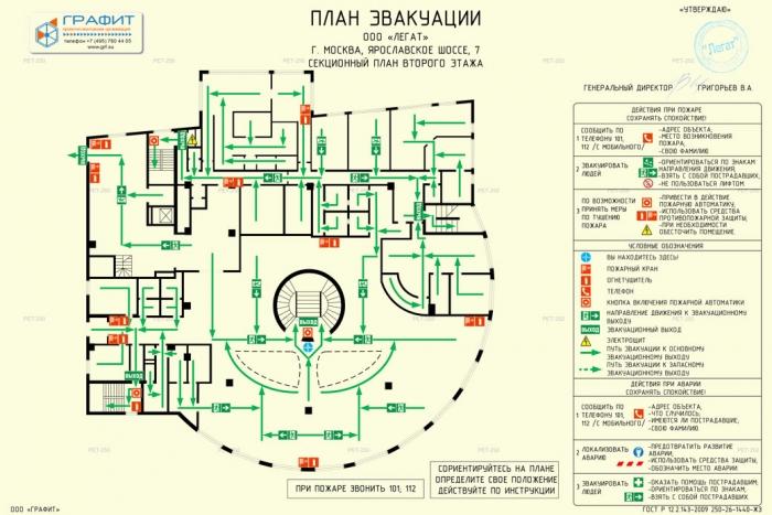 План эвакуации ООО Легат секционный план 2 этажа